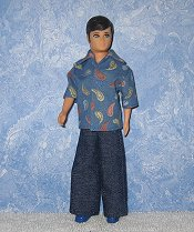 Blue Paisley shirt & denim bellbottoms