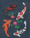4 Koi with hardy water lily