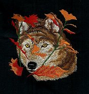 Wolf among leaves